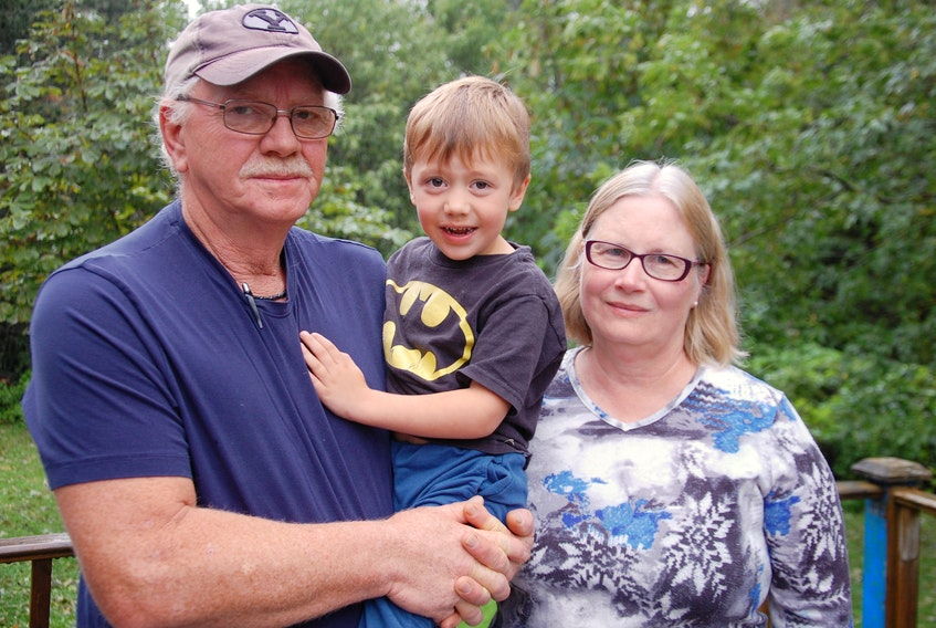 Dale and Lori Mahar are caring for their grandson Jensen as the boy's father, Ryan Mahar, fights for life in a hospital in Moncton. Ryan has been in a coma since a serious fall while building a warehouse in the Elmsdale area on Sept. 4., 2019.