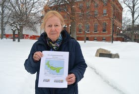 Anti-poverty activist Mary Boyd holds up the 2019 report on child poverty in P.E.I. outside the Coles Building in Charlottetown.