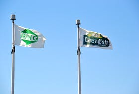 The Irving and Cavendish Farms flags fly outside the headquarters of Cavendish Agri-Services in Charlottetown. Irving will be the recipient of as much as $4.7 million in government funding to transport and store the remaining 2019 crop of potatoes.