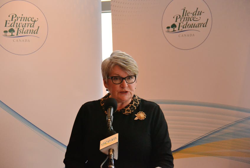 Finance Minister Darlene Compton speaks about the capital budget during a media briefing on Friday. The PC government released its $156 million capital budget Friday morning.