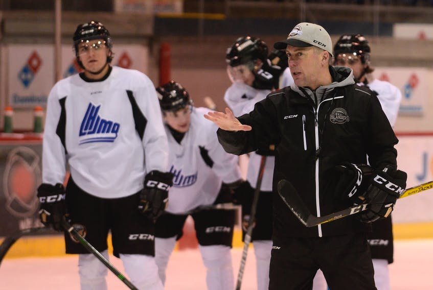 Charlottetown Islanders head coach Jim Hulton goes over positioning with his players during a recent practice at the Eastlink Centre.