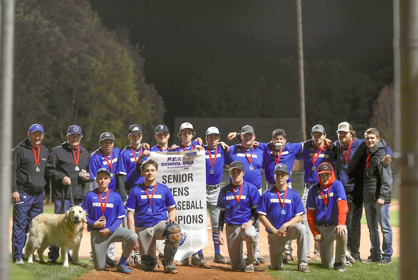 The Westisle Wolverines won their third P.E.I. School Athletic Association Senior Boys Baseball League championship in a row at Memorial Field in Charlottetown earlier this week. The Wolverines edged the Charlottetown Rural Raiders 4-3 in the gold-medal game. Members of the Wolverines are, front row, from left: Maquire Brennan, Cole Robinson, Isaac Oliver, Connor Ellsworth and Carson MacArthur. Back row: Trevor Wood (coach), Jim MacIntyre (coach), Elijah Tuplin, Dylan Grigg, Garrett Culleton, Michael McRae, Chandler DesRoches, Jack Hackett, Ben Bernard, Emmett Gaudettte, Bryce Wood (coach) and Chase Gaudette (coach). Missing from photo is team member Declan Campbell. Hayley Wood/Photo special to The Guardian