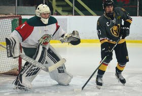 Charlottetown Knights right-winger Max Chisholm positions himself in front of Kensington Wild goaltender Jonah Arbing during a recent New Brunswick/Prince Edward Island Major Midget Hockey League game in Kensington.