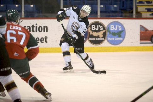Charlottetown Islanders winger Cédric Desruisseaux picks his spot before firing a shot during Wednesday's Quebec Major Junior Hockey League game with the Halifax Mooseheads.