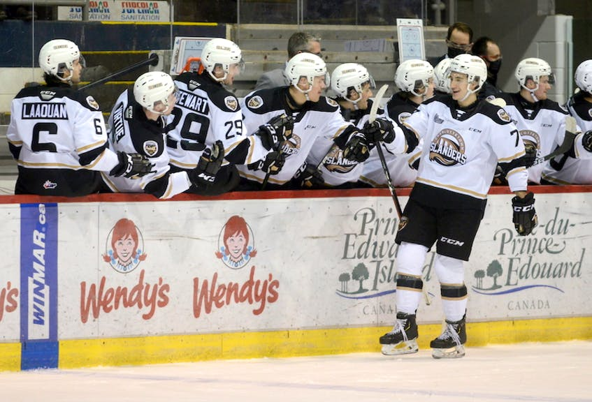 Charlottetown Islanders defenceman Oscar Plandowski celebrates his game-winning goal with teammates during the first period of Wednesday's game with the Halifax Mooseheads. - Jason Malloy