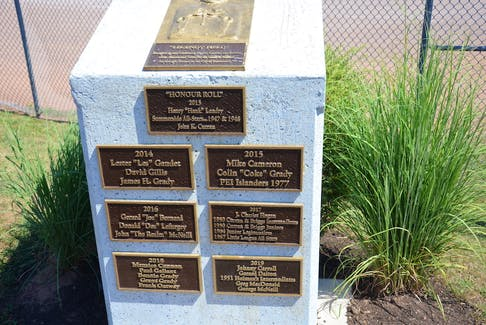 A monument on the first-base side of Queen Elizabeth Park's Legends Field in Summerside highlights the inductees for the Legends Field Honour Roll.