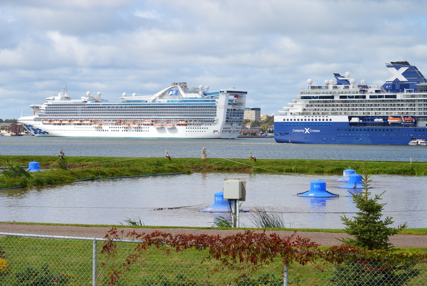 Cruise ships in the Charlottetown Harbour provide a backdrop to the sewage lagoon in Stratford on Wednesday. The Town of Stratford has announced a $17.5-million project will begin in October to pump the town's sewage over to the pollution control plant in Charlottetown and decommission the lagoon.