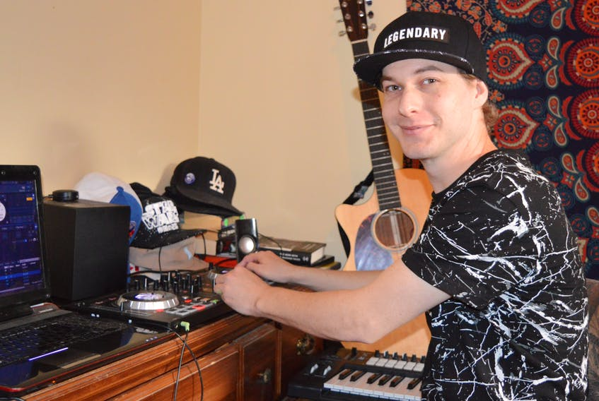 Braeden Van Asperin, whose stage name is BraedenV, records his songs at his home studio in Charlottetown. The hip-hop artist, who was just nominated for a Music P.E.I. Award, will have a new song out on Jan. 11.