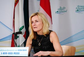 P.E.I.'s chief public health officer, Dr. Heather Morrison, speaks at a media briefing concerning the coronavirus.