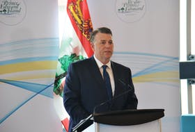 P.E.I. Premier Dennis King speaks at an announcement at UPEI on Tuesday. The Premier pledged to reduce climate emissions to net zero by 2040.