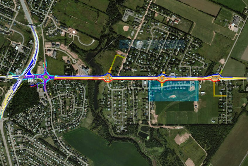 A map of proposed changes planned along the St. Peters corridor in East Royalty. Source: Department of Transportation, Infrastructure and Energy
