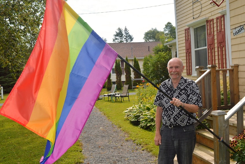 Jim Culbert has been fighting for gay rights since moving to P.E.I. in 1988. He proudly flies the rainbow flag and has made flags for various businesses across the province.