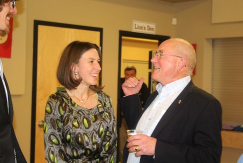 Liberal incumbent Wayne Easter is congratulated by Green candidate Anna Keenan as the long-time Malpeque MP is given another mandate by P.E.I. voters.