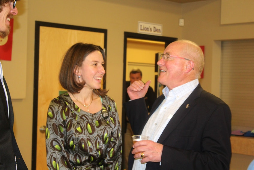 Liberal Wayne Easter is congratulated by Green candidate Anna Keenan as the long-time Malpeque MP was given another mandate by P.E.I. voters in 2019. - SaltWire Network file photo