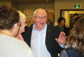 Liberal incumbent Wayne Easter greets his supporters at the Cornwall Civic Centre at Monday night for the 43rd federal election. Ernesto Carranza/The Guardian