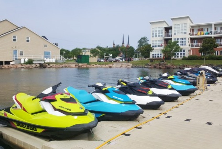 A row of Sea-doos is shown at the Charlottetown Marina, where a collision in 2018 led to the death of 21-year-old Carter Wood. Facebook.com/Flyboardmaritimes.