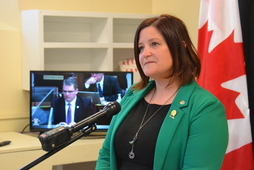 Green MLA Karla Bernard questioned Justice Minister Bloyce Thompson on Tuesday about delays in implementation fo the third option program