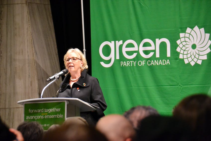 Green leader Elizabeth May speaks in Charlottetown during a Green party rally on Monday, Sept. 23, 2019. May said her party was the only one committed to limiting global warming to under 1.5 degrees Celsius, the limit set by the Inter-governmental Panel on Climate Change. Stu Neatby/THE GUARDIAN