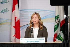 Marion Dowling, Health P.E.I.'s chief of nursing, speaks at a media briefing concerning the coronavirus pandemic.