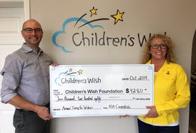 """Cavendish KOA Holiday recently donated $4,280 to the Children's Wish Foundation, Prince Edward Island chapter. The money, which was raised during the annual """"Camp for Wishes"""" fundraiser, will help grant the most heartfelt wish for an Island child. On hand for the presentation are Darryl Warren, Children's Wish development co-ordinator, and Kathleen Hryckiw, owner and operator of Cavendish KOA Holiday Campground. Submitted"""