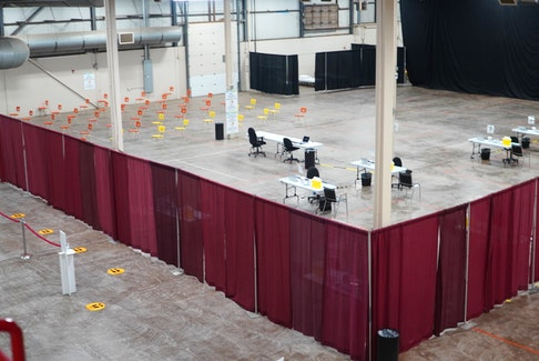 This COVID-19 mass vaccination clinic starts at the Eastlink Centre in Charlottetown on March 29. Islanders will enter and register on the bottom left, then sit in a waiting section on the bottom right - once ready, they'll be guided to one of the tables to be vaccinated, then wait again in the section of chairs on the top left before leaving.