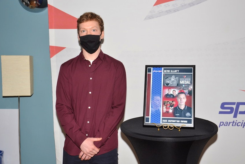 Matt Barr accepted the Inspiration Award on behalf of his stepfather, Kevin Elliott, at the 47th annual Sport P.E.I. Amateur Sport Awards at the Confederation Centre in Charlottetown on Wednesday night.