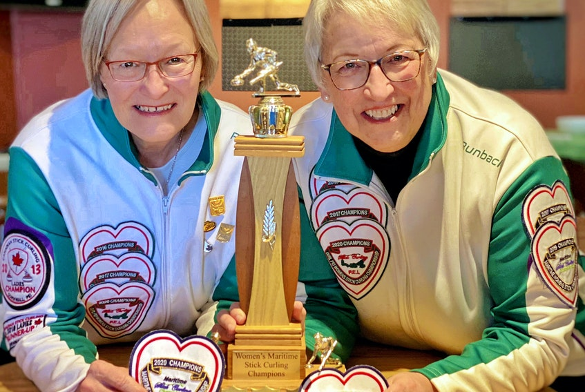 The Cornwall Curling Club team of Ruth Stavert, left, and Gloria Clarke won the women's division of the recent Maritime Stick Curling Championships in Woodstock, N.B.