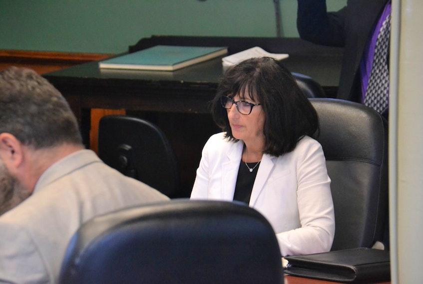 Jane MacAdam, former auditor general of P.E.I., speaks before a standing committee on Wednesday about records retention practices observed during a 2016 investigation of the e-gaming initiative.