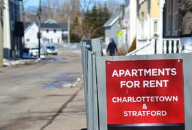A for rent sign in Charlottetown. P.E.I.'s vacancy rate has grown from 1.2 per cent in 2019 to 2.6 per cent in 2020.
