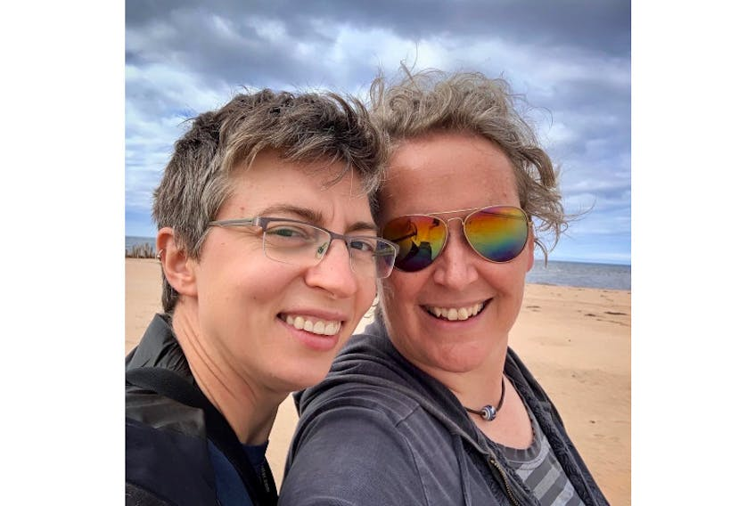 Vera Teschow, right, and her partner Tats finally tasted freedom this past week after spending 14 days self-isolating on their P.E.I. property. Vera Teschow/Special to The Guardian