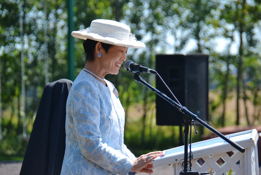 """Japanese Princess Takamado attends the opening of the new Montgomery Park in Cavendish on Wednesday. Takamado, on the Island for a two-day tour, expressed appreciation """"from the bottom of my heart"""" for the hospitality shown to her on P.E.I."""
