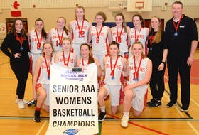 The Charlottetown Rural Raiders captured the Prince Edward Island School Athletic Association senior AAA girls' basketball title Monday on their homecourt. Team members, front row, from left, are Cassidy Hurley, Katie Vidito, Amy Plaggenhoef, Sydney Lawlor and Jenna Cyr. Second row, assistant coach Lauren Reid, Isabelle McGeoghegan, Jaelyn Power, Abby MacDonald, Abigail McGeoghegan, Ava Sinnott, Menna McCabe, assistant coach Nicole Davies and head coach Peter Lawlor.