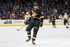 Vancouver Canucks forward Zack MacEwen celebrates his goal against the Nashville Predators during the 2019-20 NHL season.