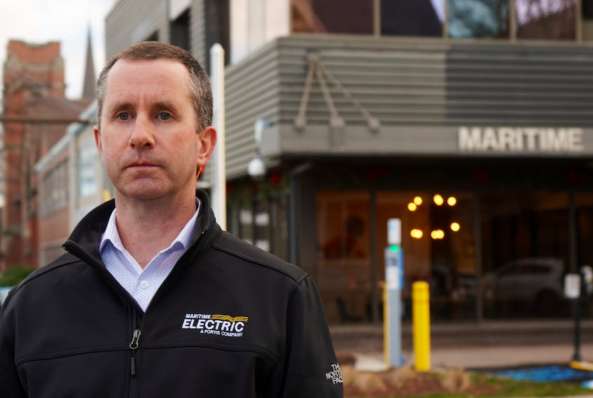 Jason Roberts, CEO of Maritime Electric, stands outside one of the company's buildings on Kent St. in Charlottetown on Dec. 29. That same day, the company announced a $3.70 increase in its electric rates.