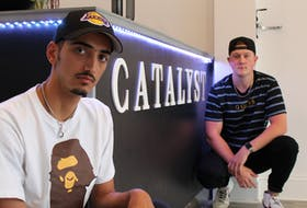 Ashkan Asadi, left, and Jackson Haley-Atkinson showcase their style at their new clothing store, Catalyst Clothing, at 181 Queen Street in Charlottetown.