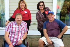 Dwight and Megan Gardiner, left, pose with friends Brent and Susan McLean. Megan and her sister, Bethany Reeves, organized the first Summerside Multiple Myeloma March in Summerside recently.