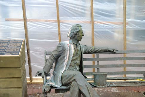 The bench statue of former Canadian prime minister John A. Macdonald has been hit by vandals a few times in the past few months in Charlottetown.
