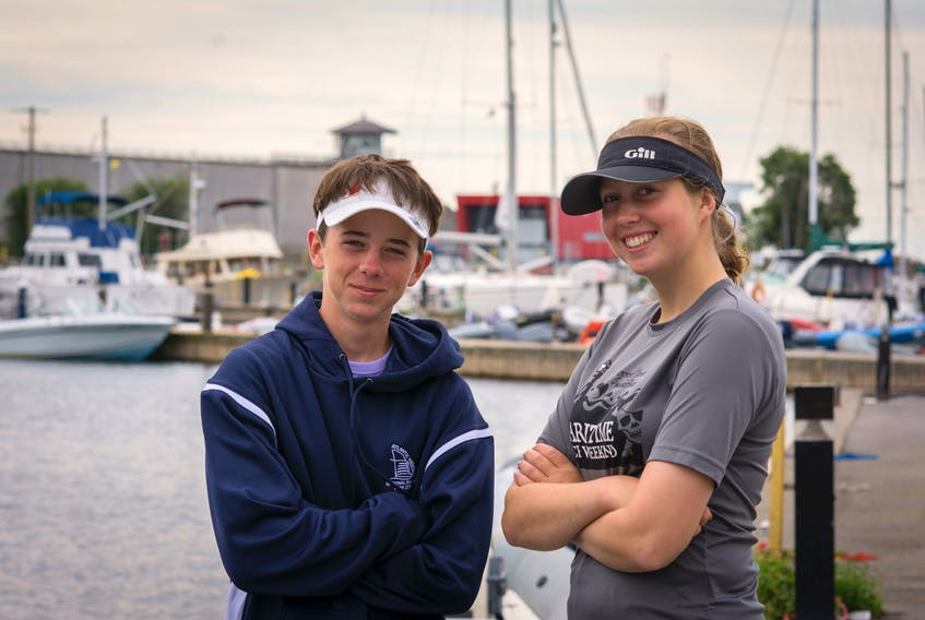 Cadets Kale Chase, left, and Skye Watson-Campbell won the National Sea Cadet Sail Regatta, racing 420 dinghies in Kingston, Ont. Cadet Harmony Deslauriers/DND/Special to The Guardian