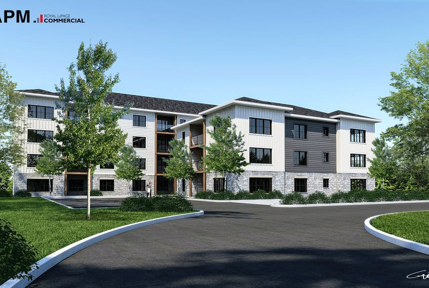 An artist rendering of the proposed apartment project for 9, 11-13 Pine Drive in Charlottetown. Submitted
