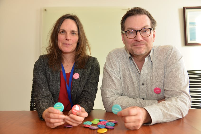 Katriona MacNeil, left, an industrial hygienist with BioVectra's health and safety group, brought the idea of implementing the CMHA's Not Myself Today button program about three years ago to the company's human resources group, including Lester Wood, the department's executive director.