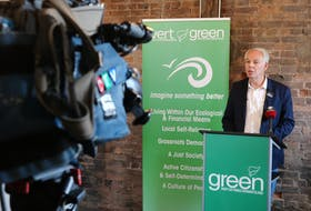 Green Leader Peter Bevan-Baker speaks to reporters in Charlottetown on Wednesday afternoon. Bevan-Baker said he believed he could work together with Dennis King on a personal level.