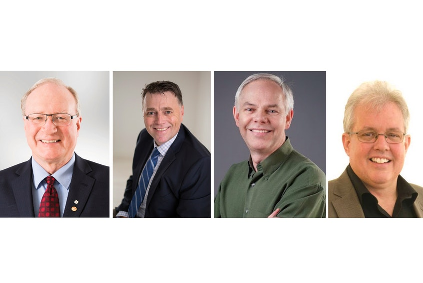 The leaders of P.E.I.'s four political parties — from left, Liberal leader Wade MacLauchlan, PC leader Dennis King, Green leader Peter Bevan-Baker, and NDP leader Joe Byrne — will vie for votes in a provincial election on April 23, 2019.