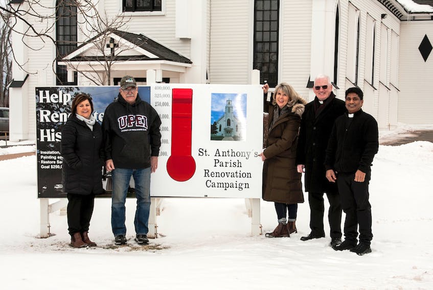 From left, Susan Shea, chairperson of the St. Anthony's fundraising committee, Sam Wedge, Sharon Jones, former pastor Daniel Wilson and current pastor Kishore Gundabathini.