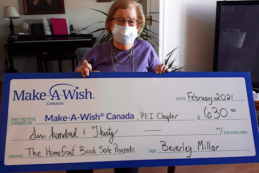 Beverly Millar presented Make a Wish P.E.I. with $630, the proceeds from the sale of her latest book The Homefront: My Memories of World War Two, 1939-1945.