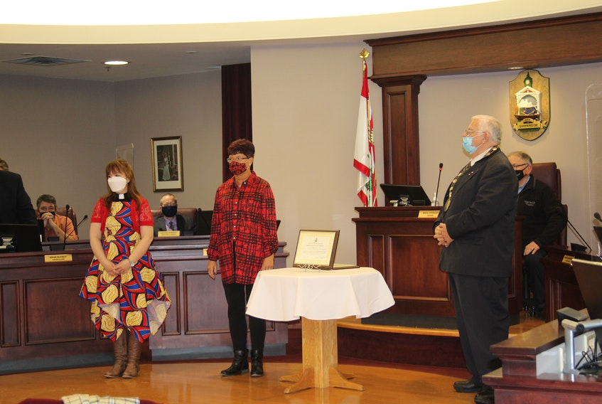From left, Rev. Rachel Campbell, Barbara A. Gallant and Mayor Basil Stewart. Campbell and Gallant received an award for their virtual Remembrance Day ceremony at Trinity United Church.