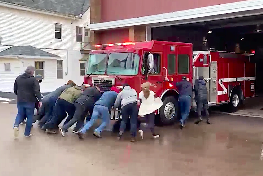Summerside's newest fire truck was recently welcomed to the city with a final push into the station. The first push into a station is an old tradition in fire fighting, but not one Summerside has usually adhered to.