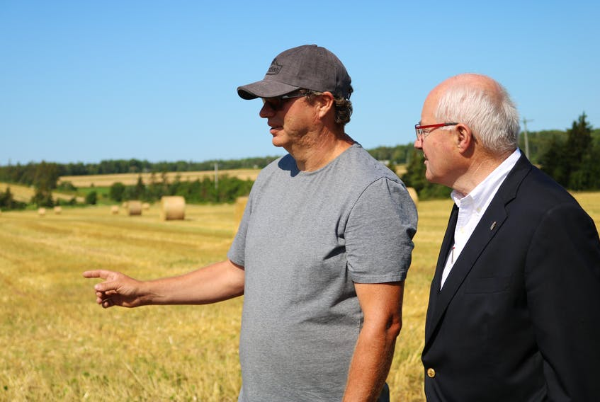 Andy Toombs, left, points to a field of Sorghum and Sudan Grass a field over while chatting with MP for Malpeque Wayne Easter about the Living Labs Atlantic project.