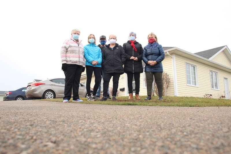 Residents of Independence Place Phase 3 in Summerside are worried about their housing future. From left were residents, Gale Rogerson, Valerie O'Quinn, Steve Costain, Dianne Reeves, Libby Ross and Sally McKinley. - Colin MacLean