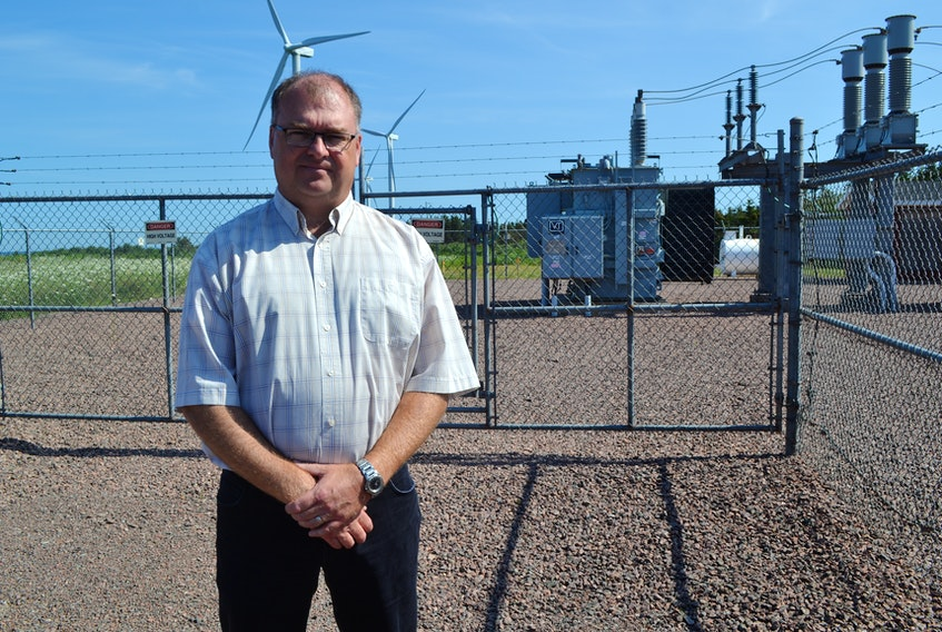 Scott Harper, executive director of the Wind Energy Institute of Canada's national research facility at North Cape discussing plans to get into back-up solar energy production.