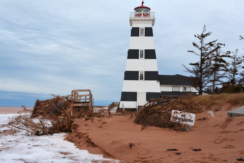 """West Point Lighthouse remains vulnerable to storm surges after September's post-tropical storm Dorian played with concrete barriers """"like Lego blocks."""" The provincial government is hoping to have funding in place soon so that work on long-term protection for the tourism infrastructure can be carried out this winter."""